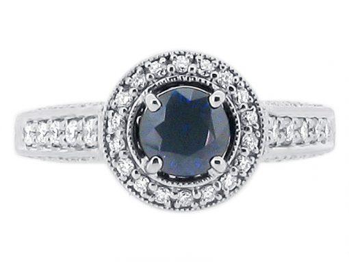 圆形蓝宝石在钻石仿古光环风格订婚国际足球 -  er 1248
