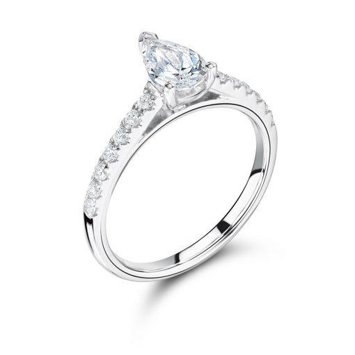 梨形纸牌扇贝套装肩部订婚戒指- ER2263