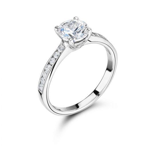 圆形扇贝设置光环订婚戒指 -  ER2316
