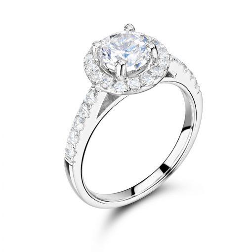 圆形扇贝设置光环订婚戒指- ER2316