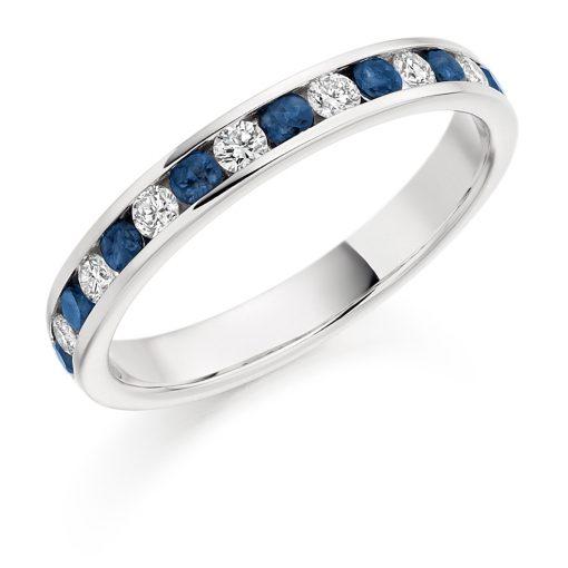 蓝色蓝宝石和钻石