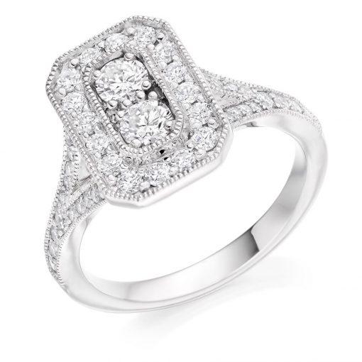 古董风格圆形辉煌切割钻石订婚戒指