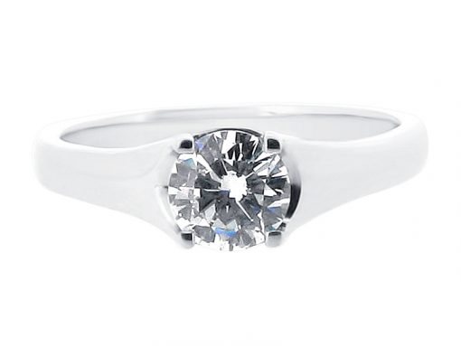 Round Solitaire Engagement Ring with Pave Detail Under Setting - ER 1008