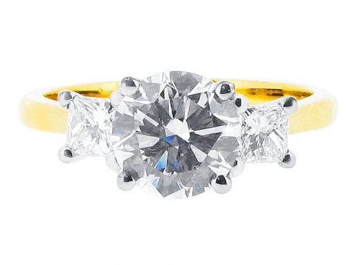 Round and Princess Trilogy Engagement Ring - ER 1085