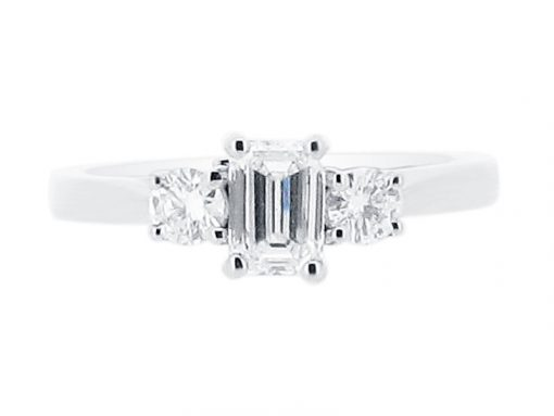 Emerald Cut And Round Brilliant Cut Engagement Ring - ER 1167