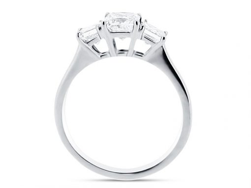 Three Stone Asscher Cut Diamond Ring