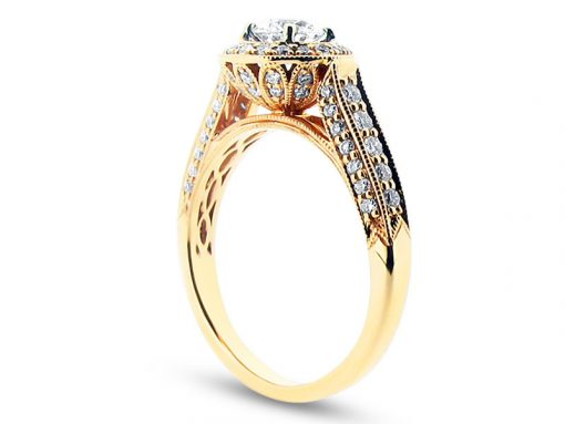 Round Diamond Antique Style Halo Engagement Ring - ER 1248