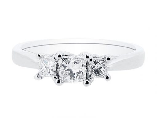 Princess Cut Trilogy Engagement Ring- ER 1385