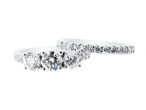 Round Three Stone Ring Scallop Set Diamond Engagement Ring - ER 1435