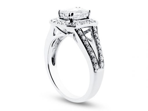 Prince Cut Halo with Split Shoulders Engagement Ring - ER 1509