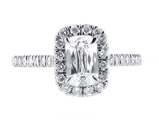 Ashoka Diamond with Scallop Set Shoulders Engagement Ring - ER 1562