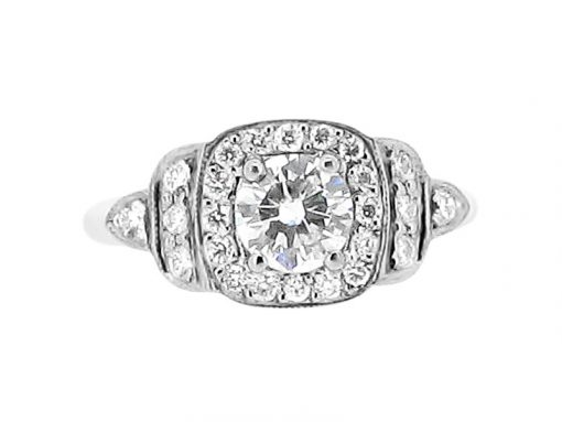 Round Halo Antique Style Engagement Ring - ER 1563
