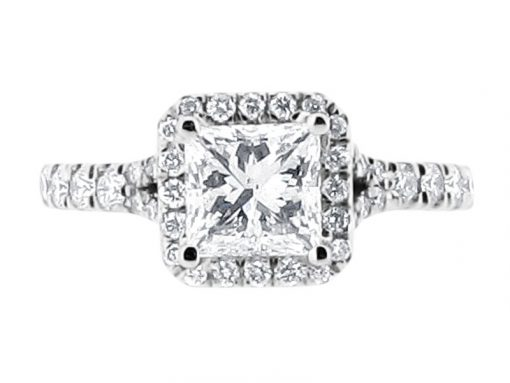 Princess Cut Halo Scallop Set Shoulder Engagement Ring - ER 1564