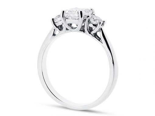 Radiant Centre and Round Brilliant Three Stone Engagement Ring