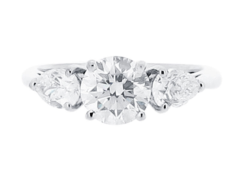 66e7eea3d31dd Round and Pear Three Stone Diamond Engagement Ring - ER 1598 ...