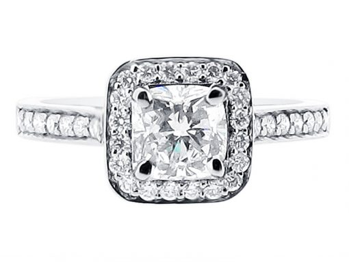 Cushion Cut Halo with Pave Shoulders Ring from Voltaire Diamonds