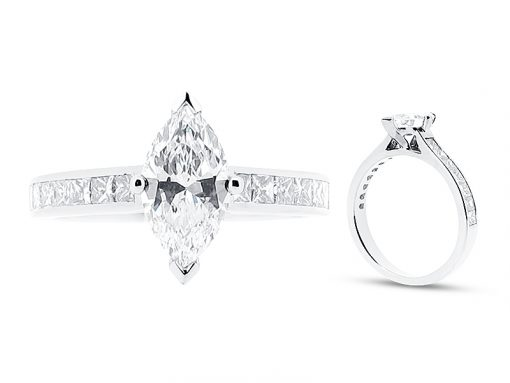 Marquise Solitaire Ring with Channel Set Shoulders Engagement Ring - ER 1022
