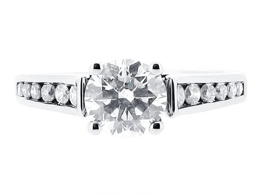 Round Brilliant with Graduated Channel Set Shoulders Engagement Ring - ER 1075