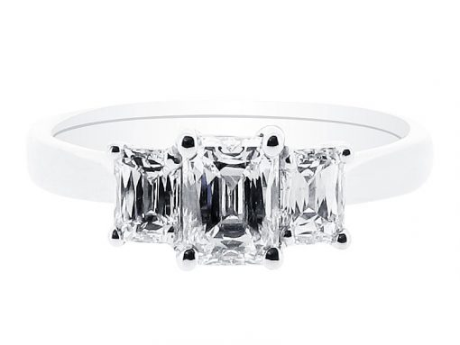 Three Stone Prince Cut Engagement Ring - ER 1087