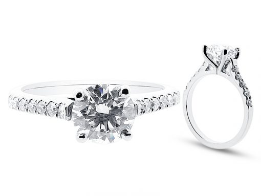 Round Brilliant With Scallop Set Shoulders Engagement Ring - ER 1225