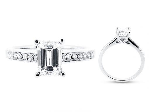 Emerald Cut Engagement Ring with Pave Set Shoulders - ER 1266