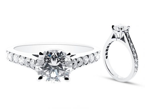 Round Brilliant Four Claw Setting with Pave Set Shoulders Engagement Ring - ER 1279