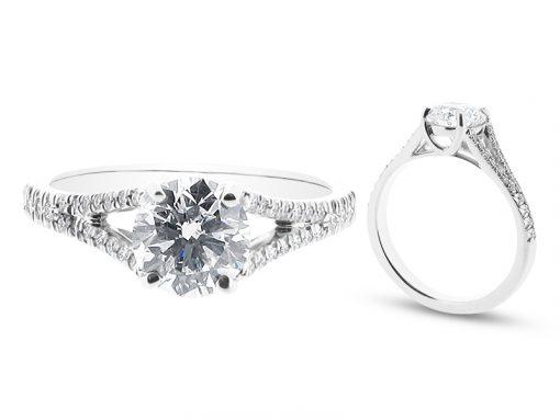 Bespoke Ring with Split Shoulder Engagement Ring - ER 1348