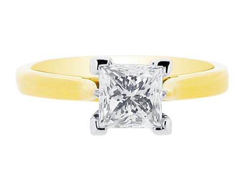 Princess Solitaire Set Yellow Gold Band Engagement Ring - ER 1019