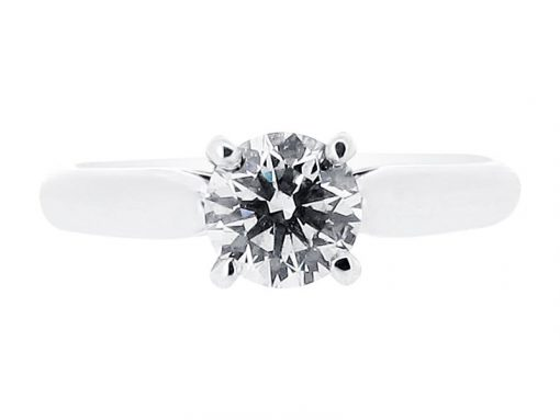 Classic Four Claw Solitaire with Tapered Shoulders Engagement Ring - ER 1046