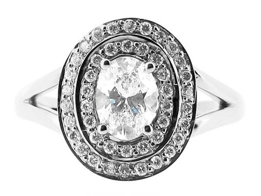 Oval Cut Double Halo Engagement Ring - ER 1051