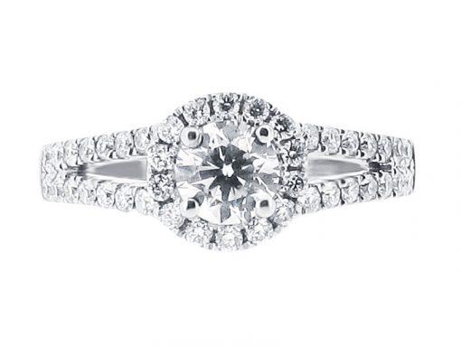Round Diamond Halo Split Shoulder Engagement Ring - ER 1056