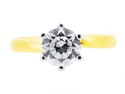 er 1101 yellow round solitaire 6 claw twist plain diamond ring