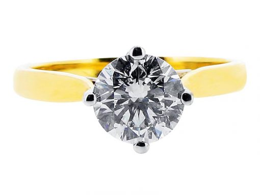 Yellow and White Gold Compass Setting Engagement Ring - ER 1103