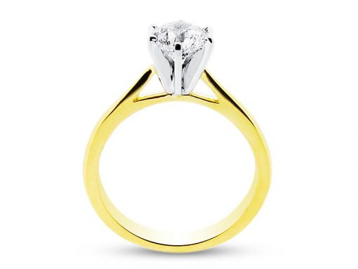 Round Brilliant Six Claw Solitaire in Yellow Gold - ER 1130