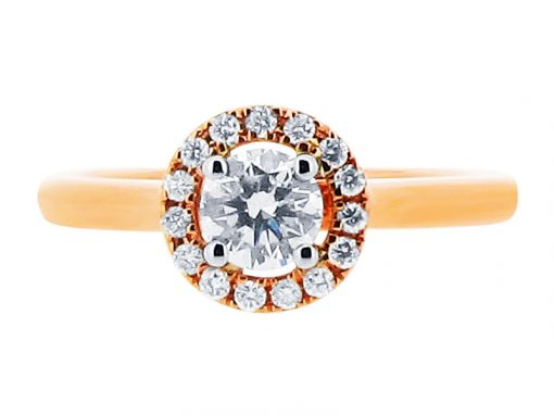 Round Halo Yellow Gold Engagement Ring ER 1157