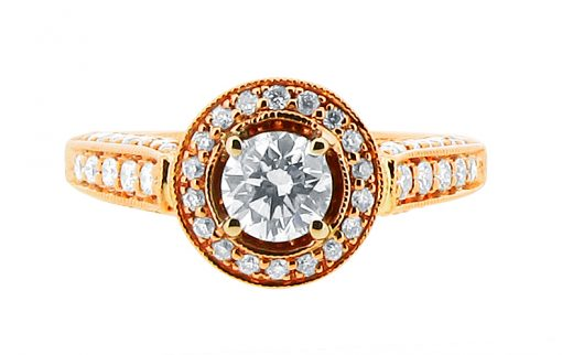 er 1248 round brilliant rose gold pave set halo with pave shoulders and walls and basket diamond detail-engagement-ring