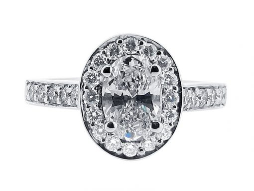 Handmade Oval Cut Halo Engagement Ring - ER 1343