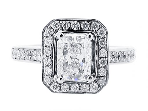 Prince Cut Halo Pave Set Engagement Ring - ER 1353