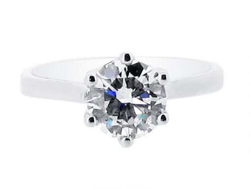 Diamond Round Solitaire Six Claw Engagement Rings - ER 1378