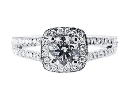 Split Shoulder Halo Engagement Ring - ER 1393