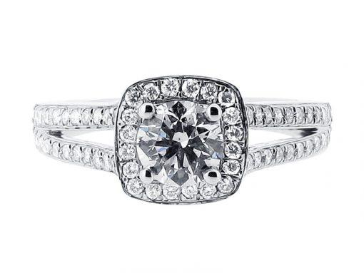 Split Shoulder Halo Engagement Ring - ER 1393