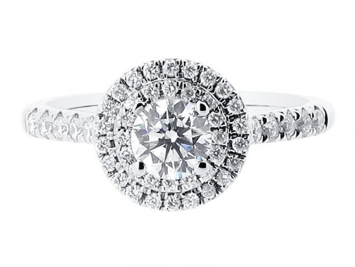 Round Double Halo with Scallop Set Diamonds Engagement Ring - ER 1432