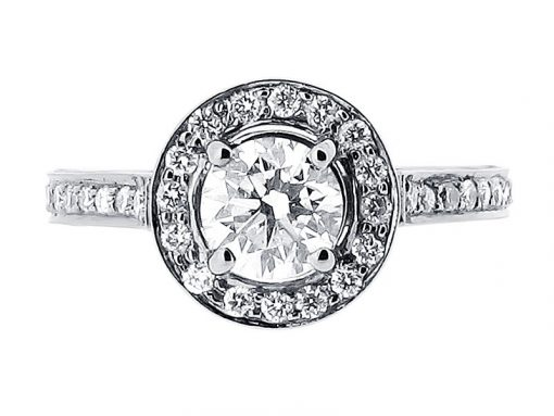 Round Pave Set Halo Style Engagement Ring - ER 1491