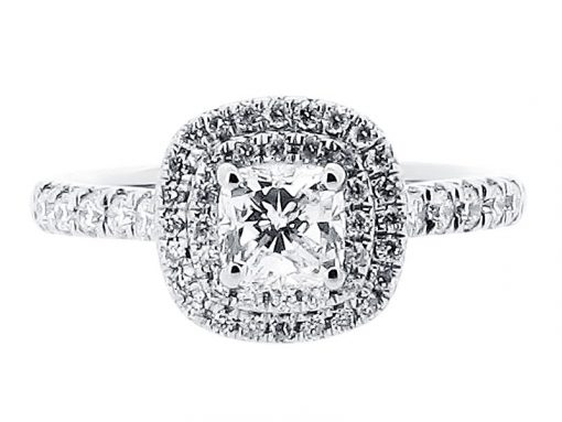 Cushion Double Halo Engagement Ring with Matching Wedding Ring - ER 1513