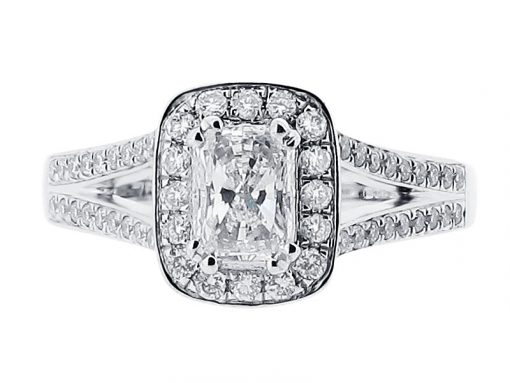 Radiant Cut Halo Split Shoulder Engagement Ring - ER 1516