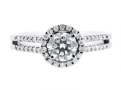 Round Halo with Split Shoulders Engagement Ring - ER 1518