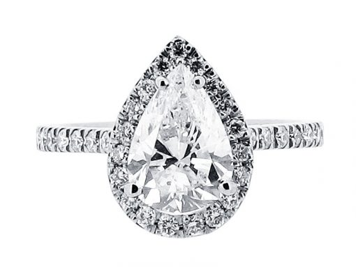 Pear Cut Diamond Halo Style Engagement Ring - ER 1528