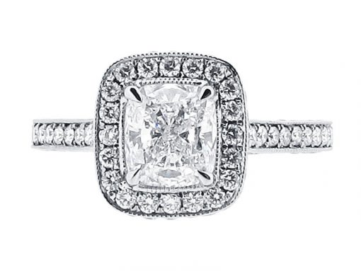 Cushion Cut Halo with Pave Set Shoulders Engagement Ring - ER 1561