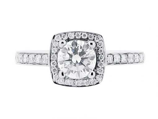 Round Brilliant With Pave Set Halo And Shoulders Engagement Ring - ER 2003
