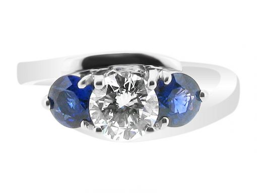 Round and Blue Sapphire Engagement Ring
